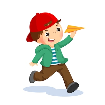 종이 비행기를 가지고 노는 행복 한 아이의 그림