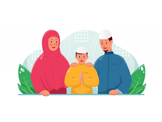 聖なる月を祝う幸せなイスラム教徒の家族グループのイラスト