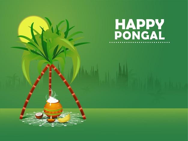 インドのハッピーポンガルホリデー収穫祭のイラスト。