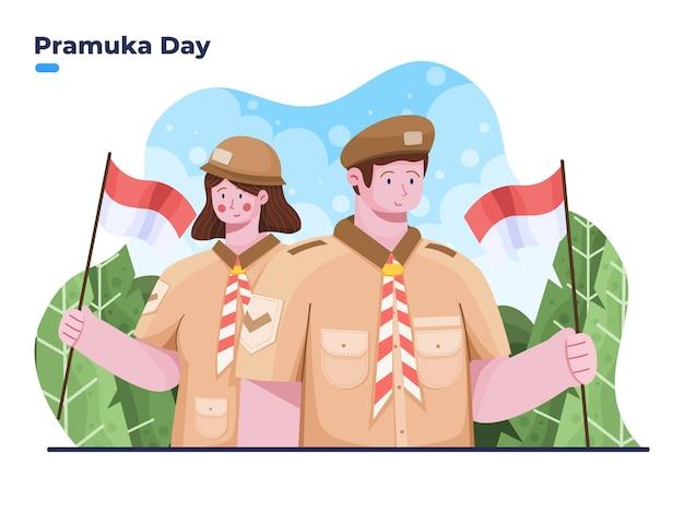 8월 14일 인도네시아에서 행복한 프라무카 데이 또는 스카우트 데이의 그림