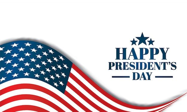 アメリカの国旗と幸せな大統領の日のイラスト。