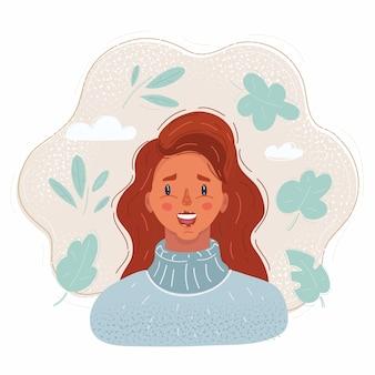 幸せな赤毛の女性の笑顔のイラスト。