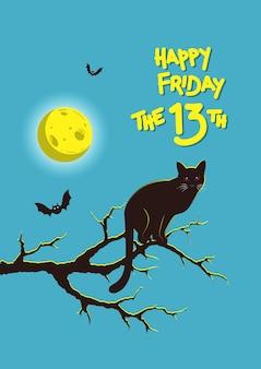 행복한 미신의 삽화, 13일 금요일 나뭇가지에 앉아 있는 고양이