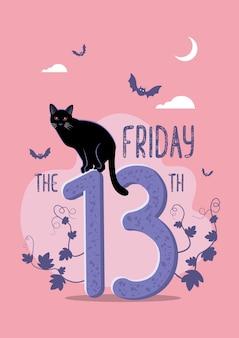 행복한 미신의 삽화, 13번 숫자에 고양이가 앉아 있는 금요일