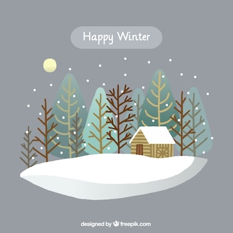 Illustration of happy winter with cabin surrounded by trees