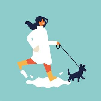 秋の服で幸せな女性のカップルのイラスト。犬と一緒に歩いている公園で屋外に自分の時間を楽しんでいる若い女の子。