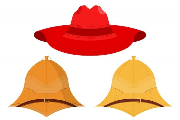 帽子のイラストが分離されました。キャップのセット。赤い帽子、髄ヘルメット、コルクヘルメット。