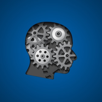창의성, 사고, 지식 및 두뇌 개념에 대한 내부 기어와 머리 실루엣의 그림