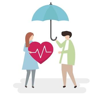 건강 보험 및 보호 개념의 삽화