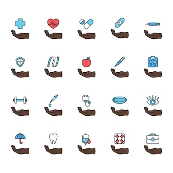 Illustration of healthy living icons set