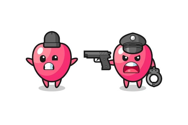 경찰이 잡은 손을 위로 들고 있는 심장 기호 강도의 그림, 티셔츠, 스티커, 로고 요소를 위한 귀여운 스타일 디자인