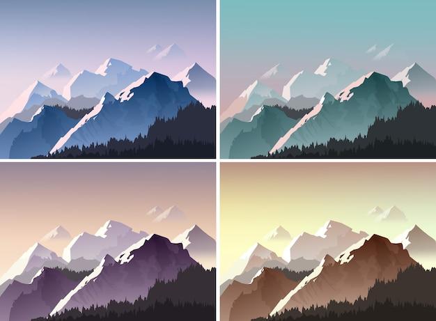 青、緑、紫、茶色の光で丘と雪の峰のイラスト。さまざまな色で設定された自然の背景