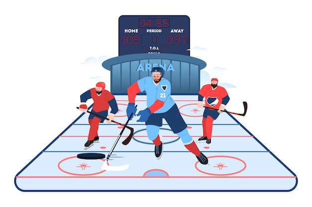 Иллюстрация спортсмена хоккейной команды. хоккеист тренируется. подготовка молодого профессионального спортсмена. спортсмен на арене, концепция командного спорта. концепция здорового образа жизни.