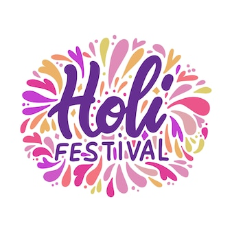Иллюстрация холи надписи для фестиваля цветов. празднование красочные открытки каллиграфия с всплеск краской, изолированные на белом.