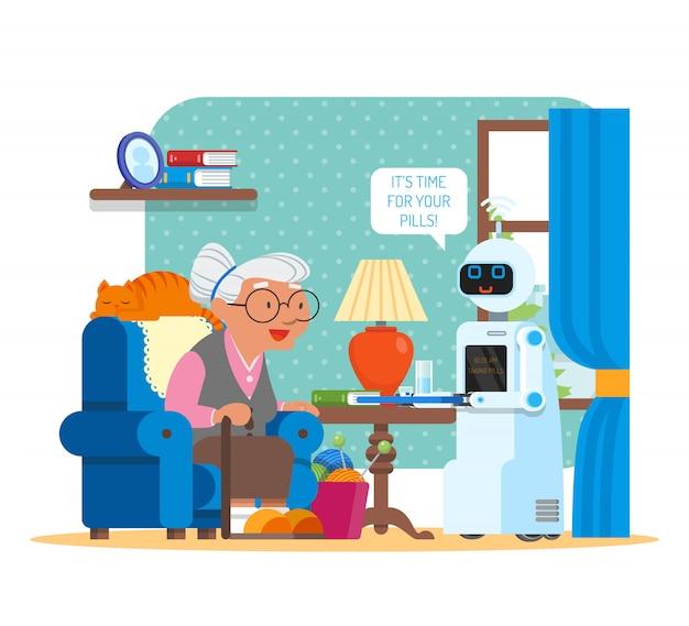 할머니에게 약을주는 가정 로봇의 그림