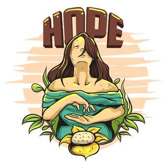 希望の女性プレミアムのイラスト