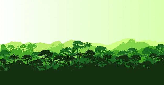 Иллюстрация горизонтальной панорамы тропического леса в силуэт е с деревьями и горами, концепция джунглей.