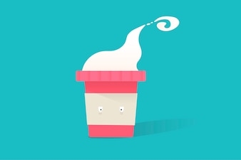 Illustration of hot coffee cup icon on blue background