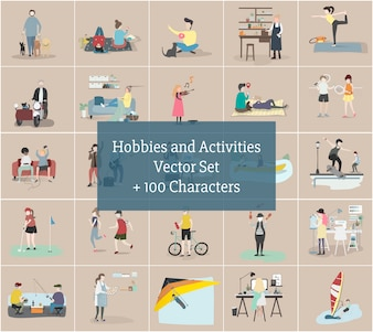 Illustration of human hobbies and activities