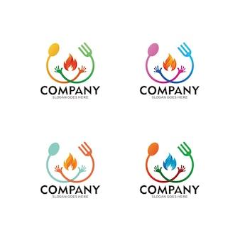 スプーンとフォークの人間のロゴのイラスト。ホットスパイシーフードのロゴ。食品または料理のビジネスロゴ