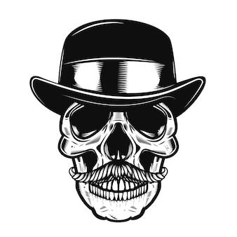 ビンテージハットで人間の頭蓋骨のイラスト。ポスター、tシャツの要素。図