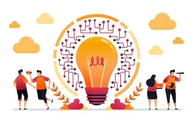 ネットワークのアイデアのイラスト。 iotテクノロジーにおけるインターネット接続とアクセシビリティ