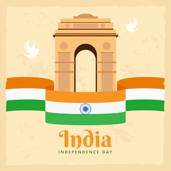 鳩と独立記念日のコンセプトのベージュ色の背景にインドの旗リボンとインド門記念碑のイラスト。