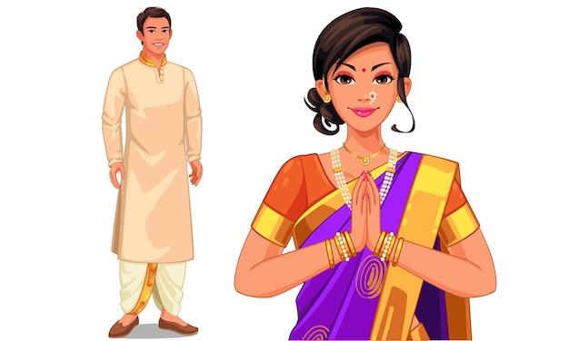 Иллюстрация индийской пары в индийском традиционном платье