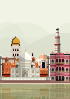 インドのランドマークのイラスト