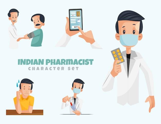 Иллюстрация набора символов индийского фармацевта