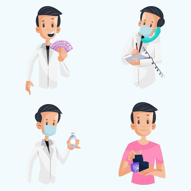 インドの薬剤師の文字セットのイラスト