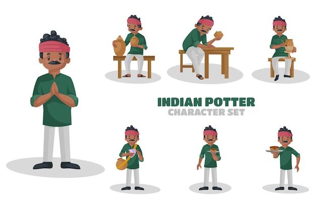 インドの陶芸家の文字セットのイラスト