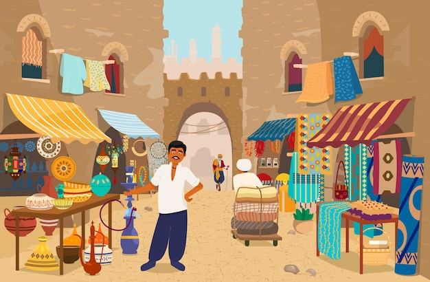 人とお店のインドのストリートバザールのイラスト:陶器、カーペット、ファブリック、スパイス、ジュエリー。本格的な商品を扱うアジアのストリートマーケット。地元の貿易。インドの商人。