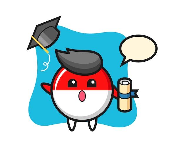 卒業で帽子を投げるインドネシアの旗バッジ漫画のイラスト