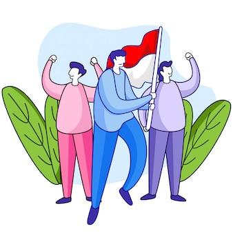 Иллюстрация дня независимости индонезии