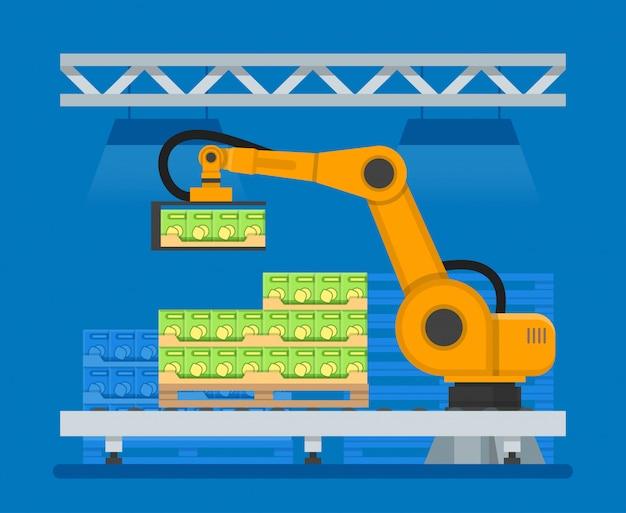 食品をパレタイジングするための産業用ロボットのイラスト