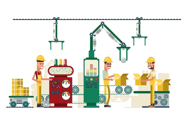 産業技術機器と労働者のイラスト