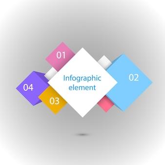 インフォグラフィックの4つの正方形のイラスト