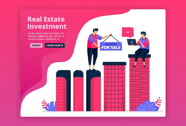 都市の不動産、不動産、アパートを購入することによる投資のイラスト。資産を購入して富を増やします。