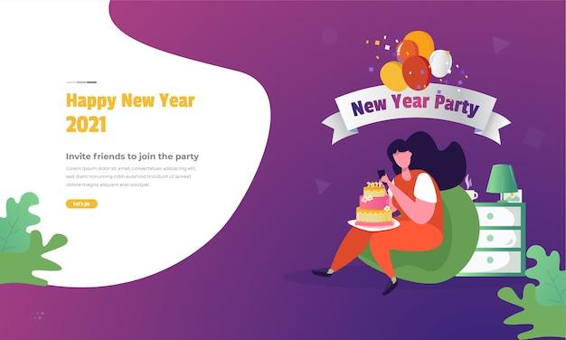 ウェブバナーのコンセプトで新年会に友人を招待するイラスト