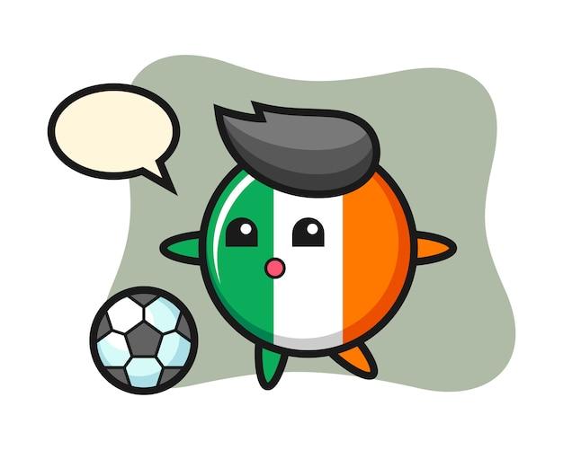 アイルランドの旗バッジ漫画のイラストはサッカーをしています。