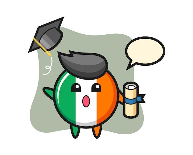 卒業で帽子を投げるアイルランドの旗バッジ漫画のイラスト