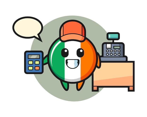 レジ係としてアイルランドの旗バッジキャラクターのイラスト