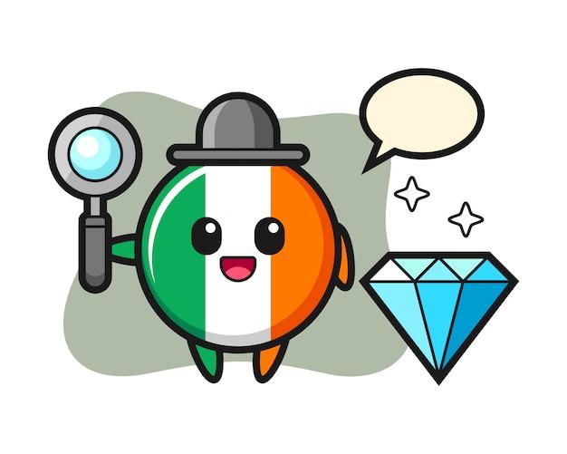 ダイヤモンドのアイルランドの旗バッジキャラクターのイラスト