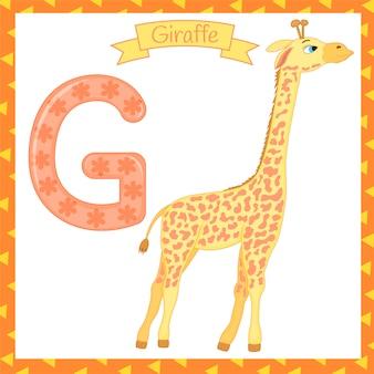キリンのための孤立した動物のアルファベットgのイラスト