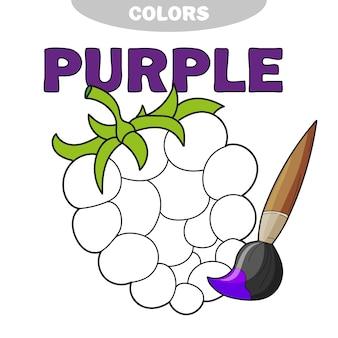 Иллюстрация изолированных черно-белых ягод для раскраски. дошкольное образование. векторная иллюстрация. деятельность детей. узнай цвет - фиолетовый