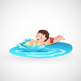 고립 된 소년과 수영장의 그림