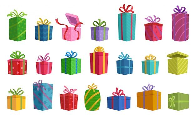 Иллюстрация изолированной подарочной коробки значка шаржа с лентой.