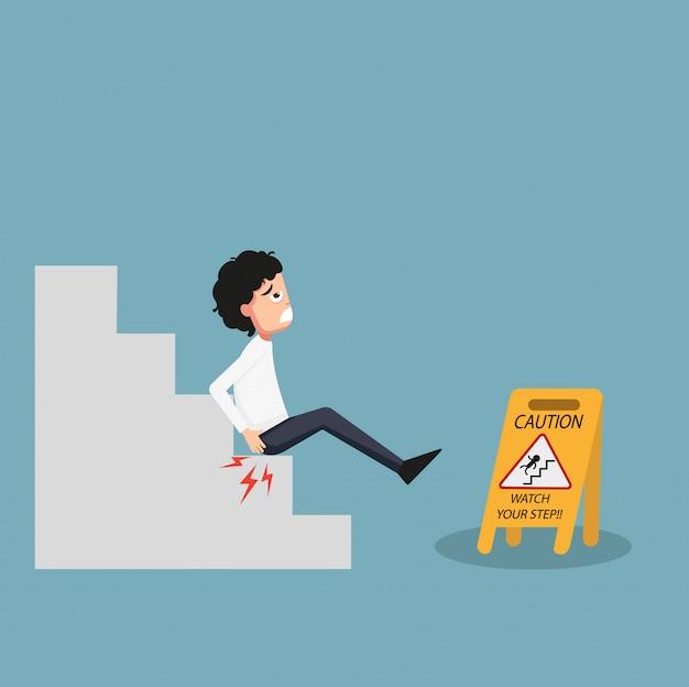 あなたのステップの注意看板の隔離された時計のイラスト。滑りの危険