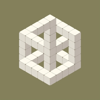 흰색 큐브의 아이소메트릭 착시의 그림